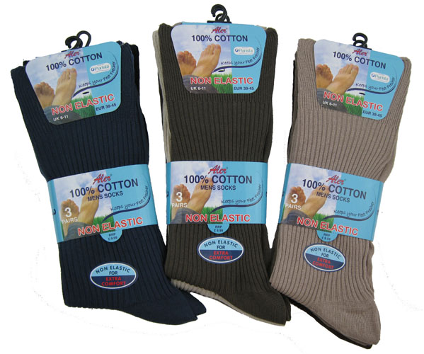 Wholesale Aler Mens 100 Cotton Non Elastic Socks