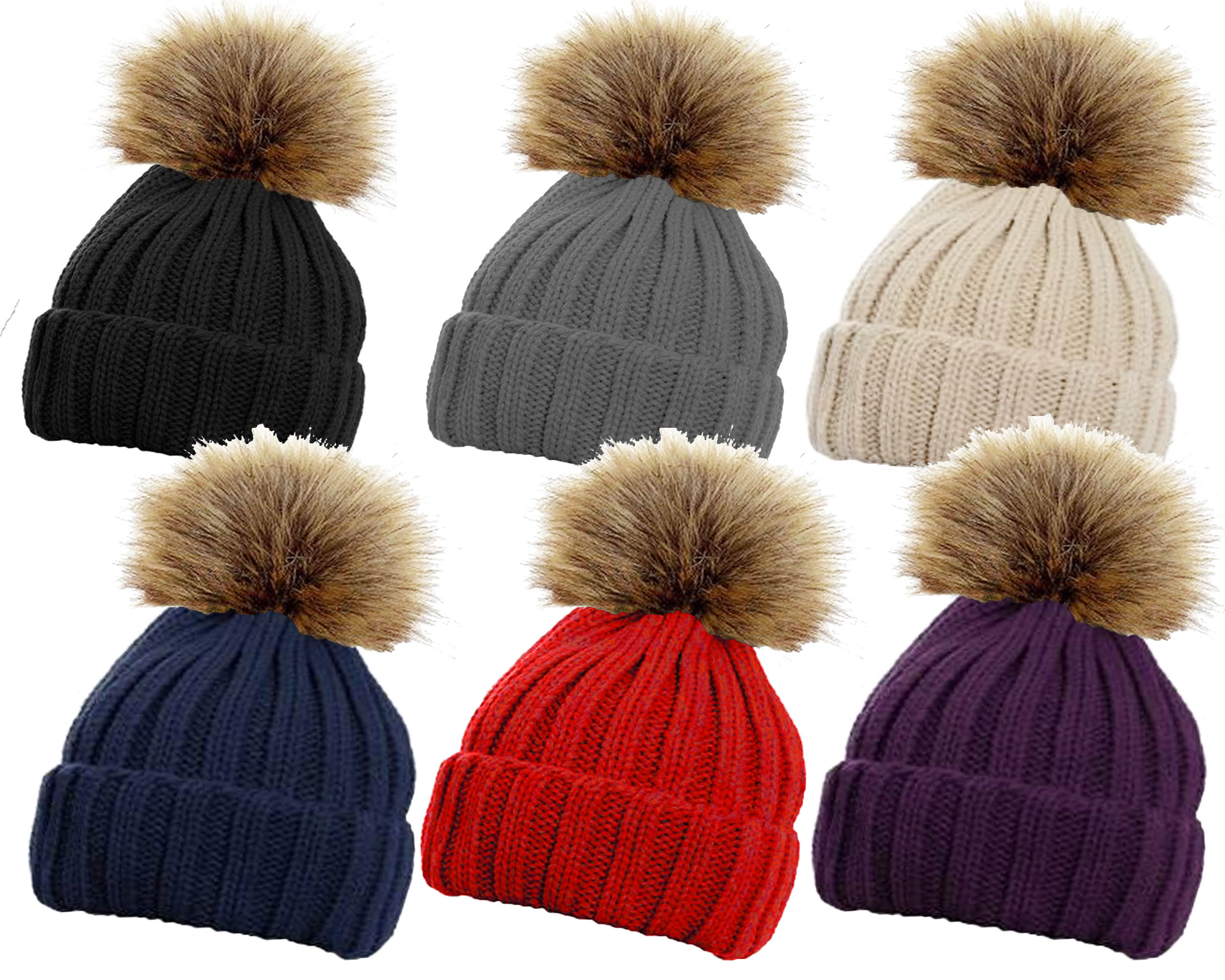 HAi-618 Ladies Ribbed Ski Hat with Large Detachable Faux Fur Pom Pom by  Handy Glove - 99618 f983218f624