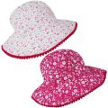 C581 Girls Floral Design Wide Brim Sun Hat