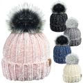 HAi-407 Ladies Detachable Faux Fur PomPom Ski Hat