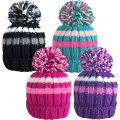 HAi-413 Girls Chunky Knitted Bobble Ski Hats