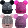 HAi-416 Girls Ski Beanie Hats Faux Fur Pom Pom's