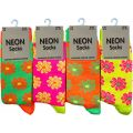 Girls Neon Daisy Design Ankle Socks
