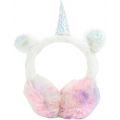 Girls 3D Plush Rainbow Sparkly Unicorn Earmuffs