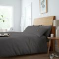 5051346361411 Waffle Charcoal Double Duvet Cover Set